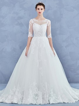 Ericdress Charming Scoop Ball Gown Wedding Dress With Sleeves