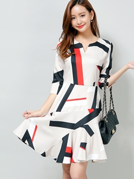Ericdress Color Block Patchwork V-Neck Casual Dress