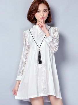 Ericdress Solid Color A-Line Long Sleeve Stand Collar Casual Dress