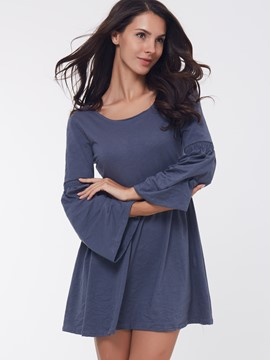Ericdress Plain Round Neck Flare Sleeve Casual Dress