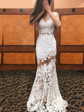Ericdress Sexy Illusion Neckline Sheath Lace Wedding Dress