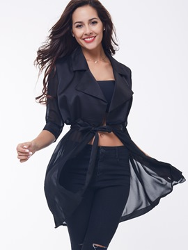 Ericdress Black Lace-Up Half Sleeve Thin Coat