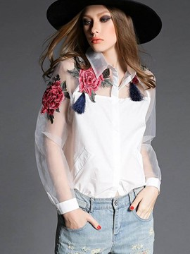 Ericdress White Floral Pritnt See-Through Blouse