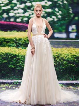 Ericdress Sexy Deep V Neck Backless A Line Wedding Dress