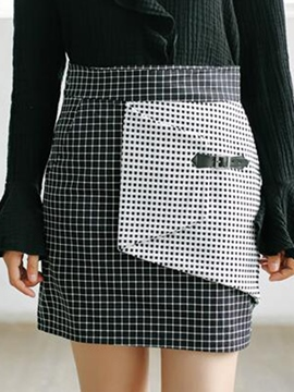 Ericdress Unique Asymmetric Plaid Skirt