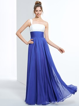 Ericdress A-Line One-Shoulder Pleats Long Prom Dress