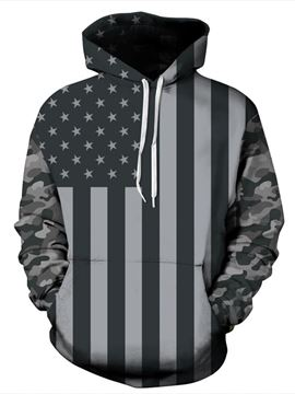 Ericdress American Flag 3D Print Mens Loose Hoodies