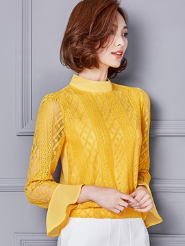Ericdress Solid Color Lace Chiffon Patchwork Blouse