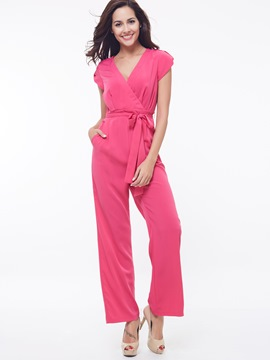 Ericdress Solid Color Elegant Lace-Up Jumpsuits Pants