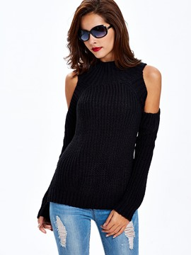 Sisjuly froid épaule Turtle Neck tricots