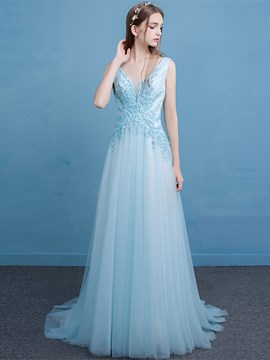 Ericdress A-Line V-Neck Appliques Beading Lace Long Evening Dress