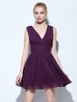 Ericdress A-Line V-Neck Draped Ruched Short Cocktail Dress
