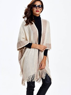 Ericdress Sisjuly Solid Color Tassel Loose Cardigan Knitwear