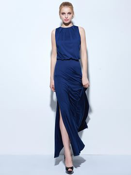 Ericdress A-Line Jewel Beading Split-Front Floor-Length Evening Dress
