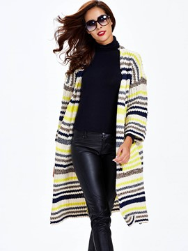 Ericdress Sisjuly Fine Stripe Long Cardigan Knitwear
