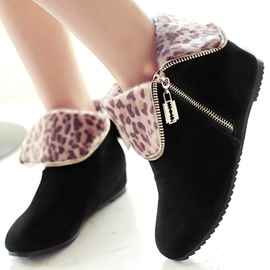 Ericdress Leopard Side Zip Ankle Boots