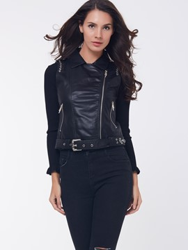 Ericdress Black Oblique Zipper Lapel Motorcycle Jacket