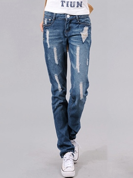 Ericdress Fashion Ripped Jeans