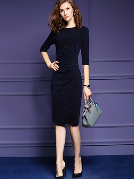 Ericdress Half Sleeve Pleated Sheath Dress