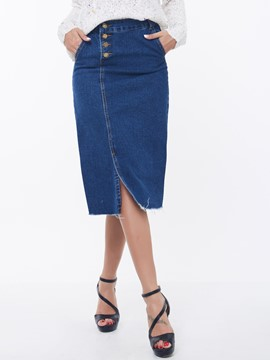 Ericdress Unique Asymmetric Denim Skirt