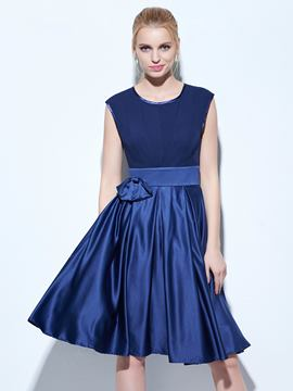 Ericdress A-Line Scoop Bowknot Knee-Length Cocktail Dress