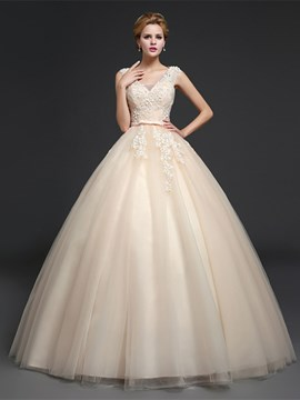 Ericdress Amazing V Neck Appliques Ball Gown Wedding Dress