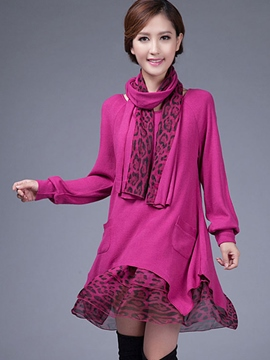 Ericdress A-Line Round Neck Patchwork with Scarf Casual Dress