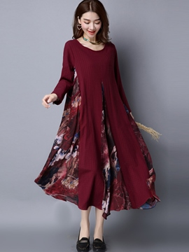 Ericdress Print Patchwork Round Neck Loose Maxi Dress