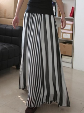 Ericdress Casual Stripe Maxi Skirt