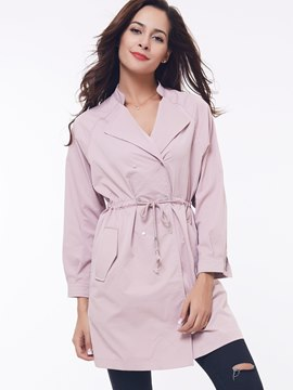 Ericdress Pink Lace-Up Lapel Coat
