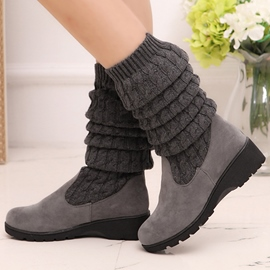 Ericdress Knitting Patchwork Round Toe Knee High Booties