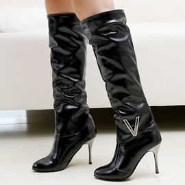 Ericdress en cuir verni Point Toe Knee High bottes