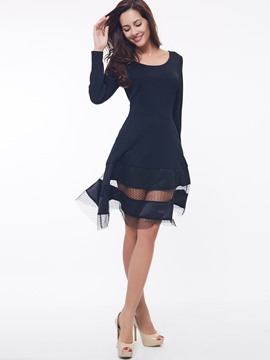 Ericdress Color Block Patchwork manches longues Casual Dress