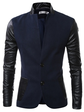 Ericdress Stand Collar PU Patchwork Slim Men's Jacket