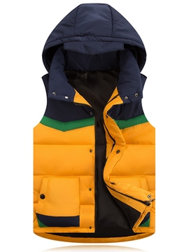 Ericdress Color Block Hood Warm Casual Men's Vest