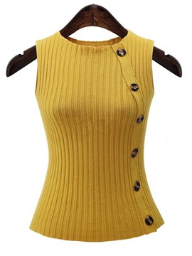 Ericdress Oblique Button Sleeveless Knitwear