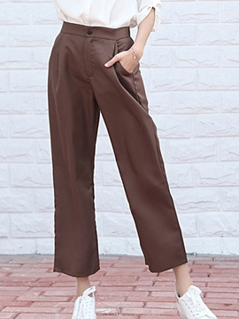 Ericdress Plain Patchwork Pocket Loose Wide Legs Pants
