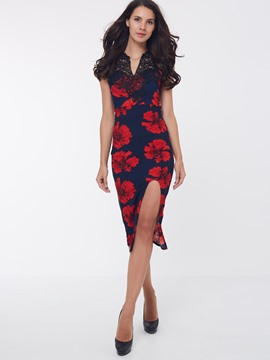 Ericdress Flower Print Lace Patchwork Split Sheath Dress