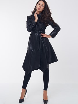 Ericdrss Lace-Up Asymmetric Plain PU Coat