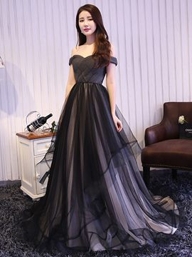 Ericdress a-ligne Off-the-Shoulder plis Tulle robe de soirée