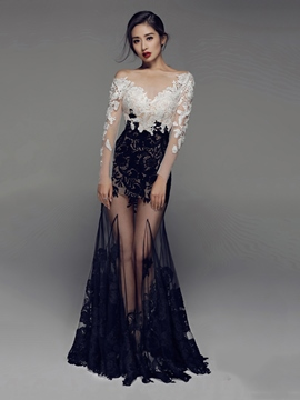 Ericdress Long Sleeves Mermaid Lace Evening Dress