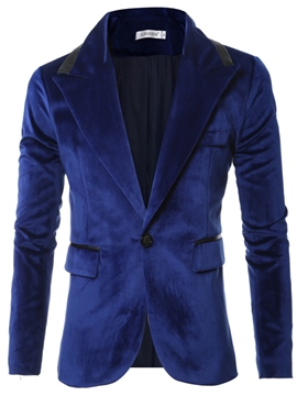 Ericdress PU Patchwork Vogue Solid Color Slim Men's Blazer