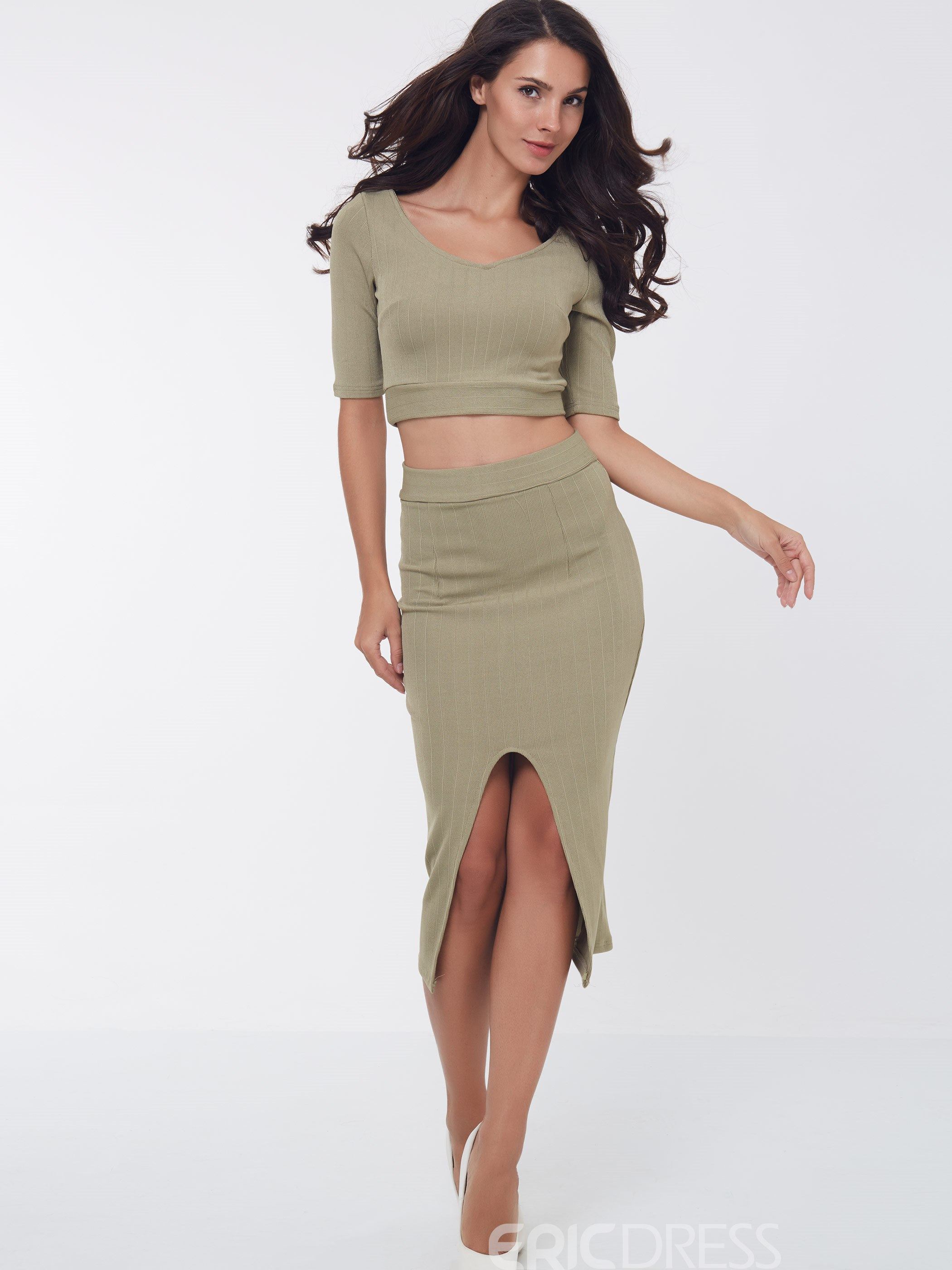 Ericdress Fashion Solid Color Two-Piece Suit Ericdress