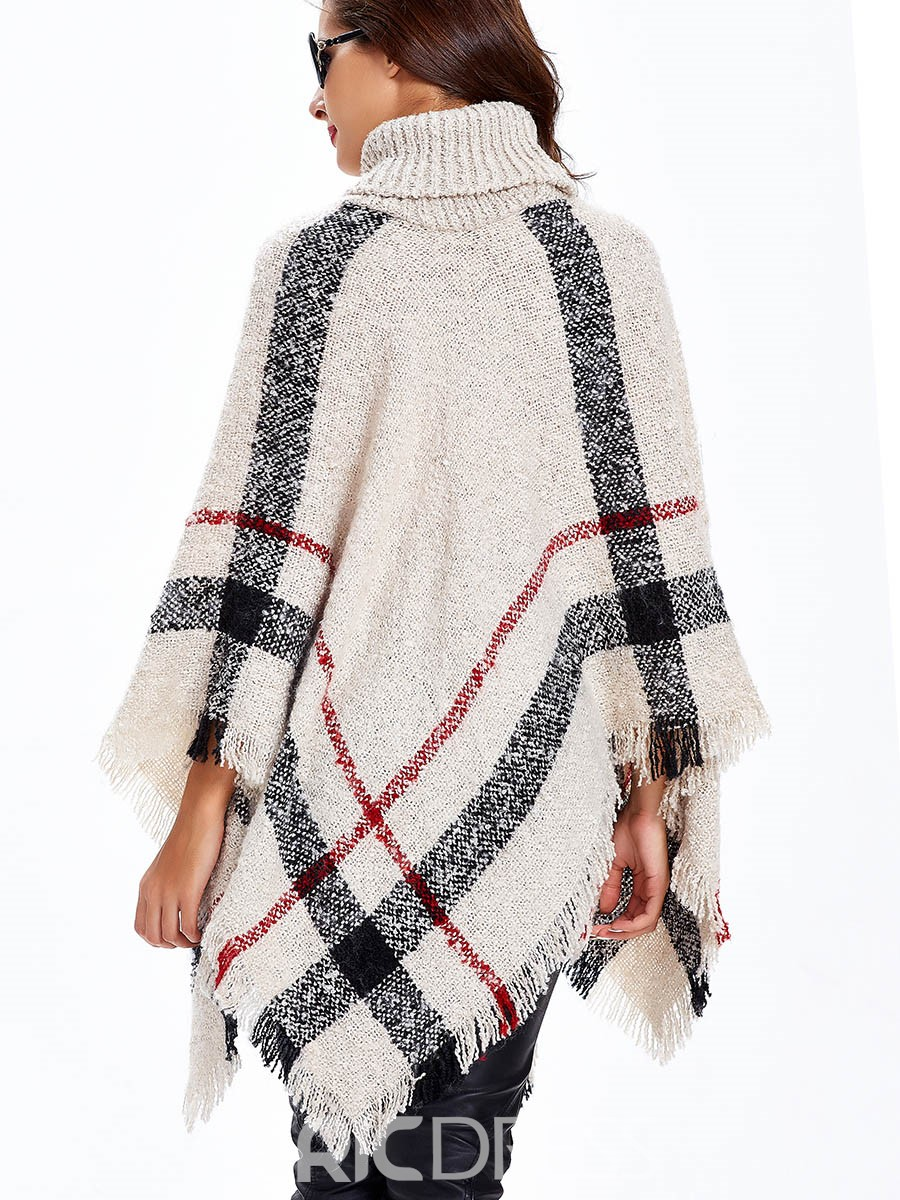 Sisjuly Turtle Neck Tassel Caped Knitwear
