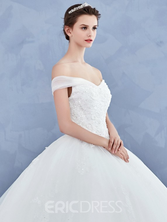 Ericdress Beautiful Off The Shoulder Appliques Beaded Ball Gown Wedding Dress