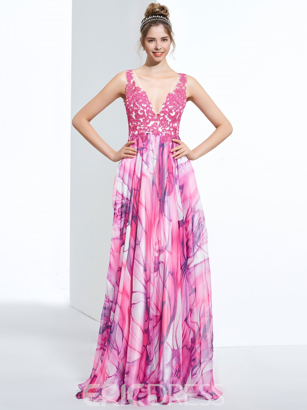 Ericdress A-Line V-Neck Appliques Printed Sweep Train Prom Dress