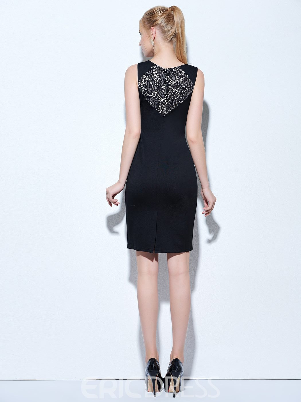 Ericdress Scoop Column Lace Knee-Length Cocktail Dress