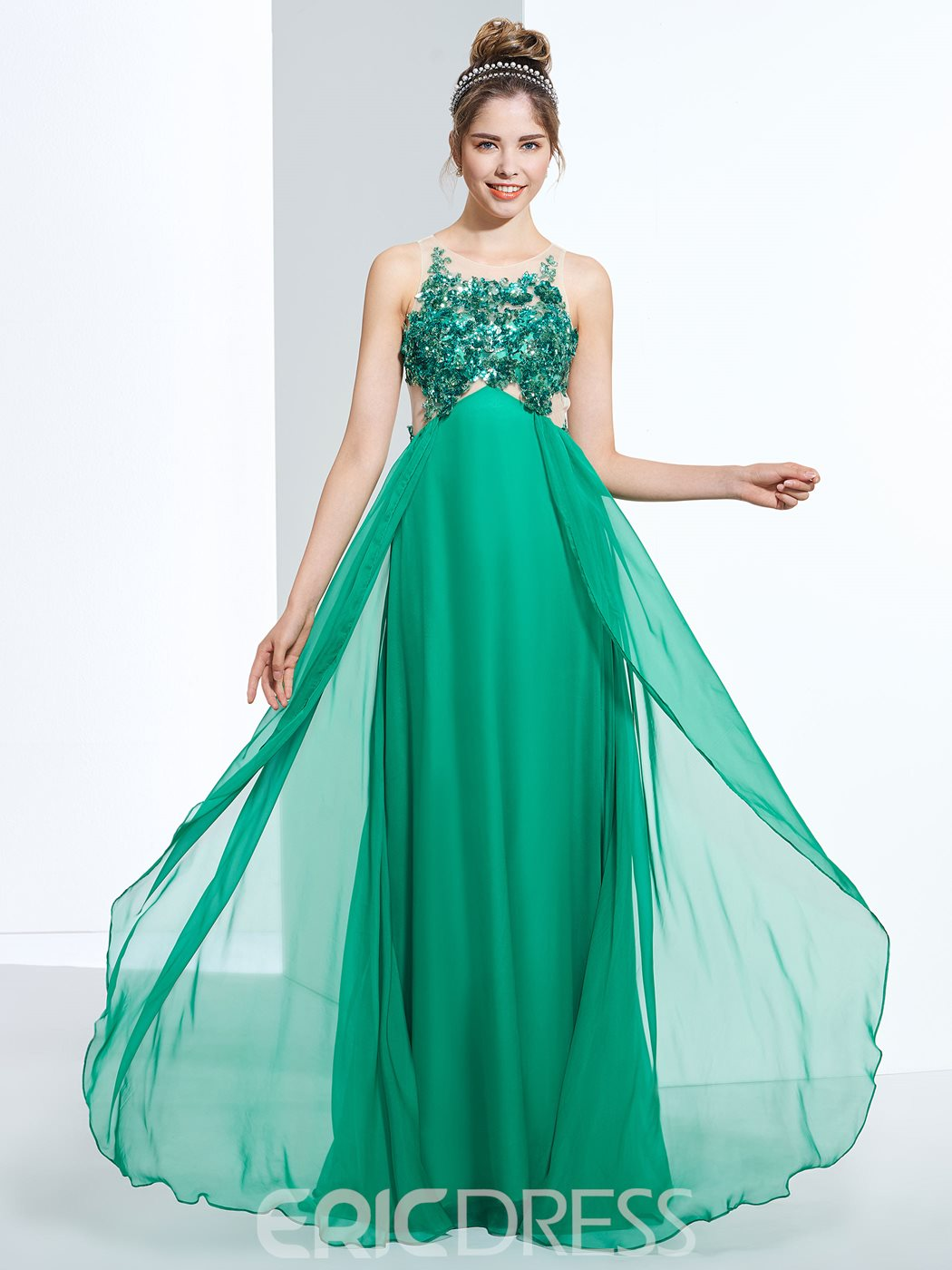 Ericdress A-Line Round Neck Sequins Appliques Floor-Length Prom Dress