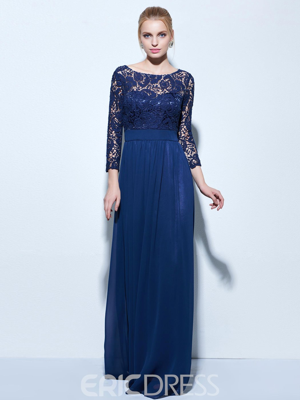 Ericdress A-Line Bateau 3/4 Sleeves Lace Evening Dress In Floor ...