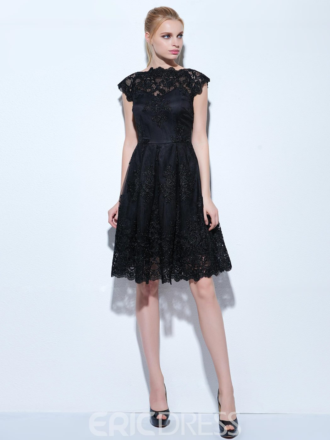 Ericdress A-Line Jewel Cap Sleeves Lace Knee-Length Cocktail Dress